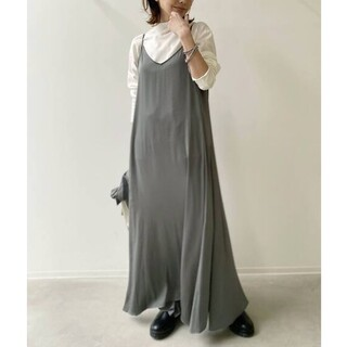 L'Appartement DEUXIEME CLASSE - 新品■Vintage Satin Cami ワンピース■カーキ■アパルトモン