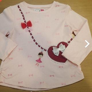 mikihouse - 【美品】100 ミキハウス リーナちゃん ハートポシェット 長袖T ピンク