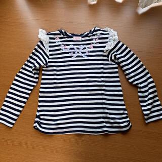 メゾピアノ(mezzo piano)のmezzo piano⭐︎お花刺繍柄ボーダーロンT(Tシャツ/カットソー)