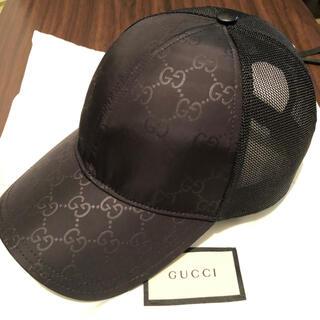 Gucci - グッチ(GUCCI) ロゴプリント メッシュキャップ 帽子 黒