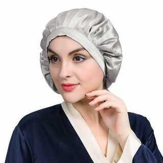 ナイトキャップ 帽子 リボン紐 枝毛防止 つや髪 保湿 シルク シルバー グレー(その他)
