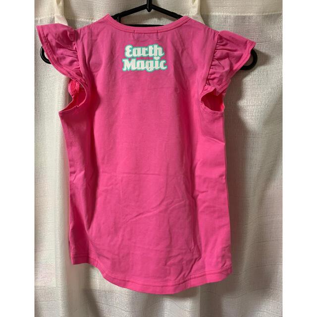 EARTHMAGIC(アースマジック)のアースマジック レース ハート Tシャツ タグ付 キッズ/ベビー/マタニティのキッズ服女の子用(90cm~)(Tシャツ/カットソー)の商品写真