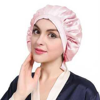 ナイトキャップ 帽子 リボン紐 枝毛防止 つや髪 保湿 シルク 100% ピンク(その他)