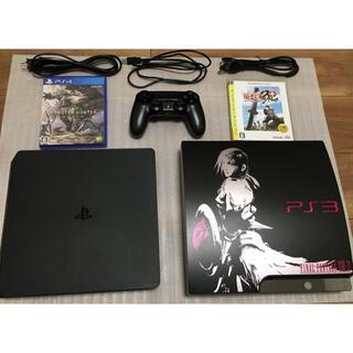 プレイステーション4(PlayStation4)の【すぐ遊べる、コントローラー2個付】PS4とPS3のセット(家庭用ゲーム機本体)