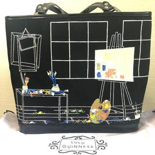 LULU GUINNESS - 希少 ルルギネス トートバッグ 刺繍 エナメル ブラック 保存袋付き