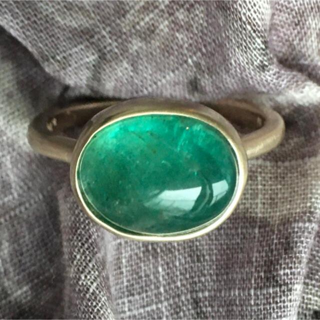 ザンビア産 ブルーグリーン エメラルド K10 リング インドジュエリー風 レディースのアクセサリー(リング(指輪))の商品写真