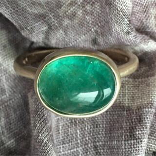ザンビア産 ブルーグリーン エメラルド K10 リング インドジュエリー風