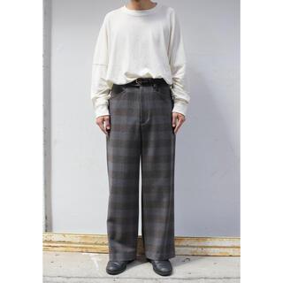 ワンエルディーケーセレクト(1LDK SELECT)のURU / WOOL CHECK WIDE PANTS(スラックス)