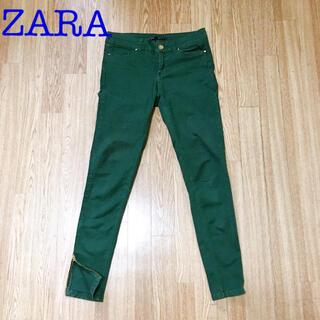 ザラ(ZARA)のZARA BASIC ストレッチ ジーンズ グリーン スキニー(デニム/ジーンズ)