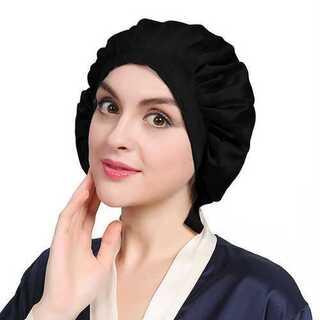 ナイトキャップ 帽子 リボン紐 枝毛防止 つや髪 美髪 保湿 シルク ブラック(その他)