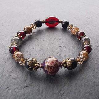 「紫は香る」薔薇のアメジストとガーネットの天然石ブレスレット(ブレスレット/バングル)