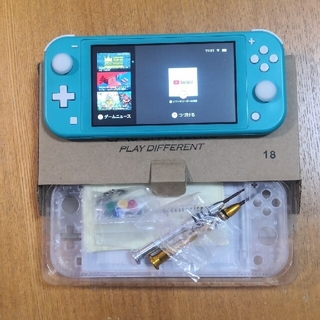 ニンテンドウ(任天堂)のNintendo Switch  Lite ターコイズ本体+クリアーシェル(家庭用ゲーム機本体)