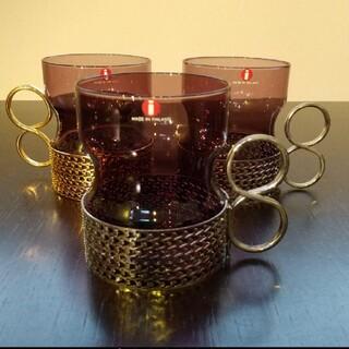 イッタラ(iittala)のイッタラ ツァイッカ グラス パープル ゴールドメタルホルダー1点(グラス/カップ)