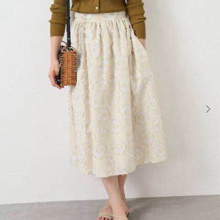 IENA - ALBINI フラワージャガードスカート 34