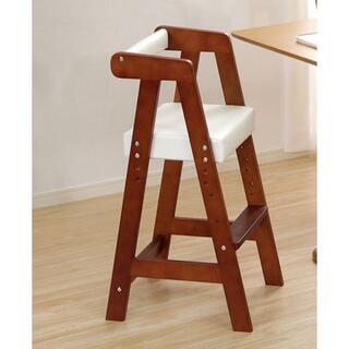 キッズチェア 子供椅子 合成皮革 ブラウンホワイト(その他)