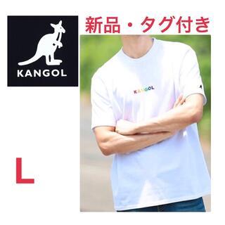 カンゴール(KANGOL)の《新品タグ付き》KANGOL ホワイト ロゴ入り半袖ロンT Lサイズ 男女兼用(Tシャツ/カットソー(半袖/袖なし))