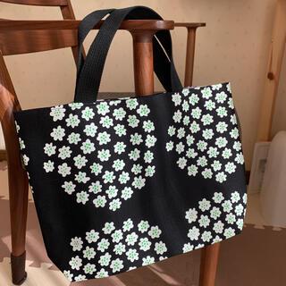 marimekko - マリメッコ  プケッティ黒 マチありトートバッグ