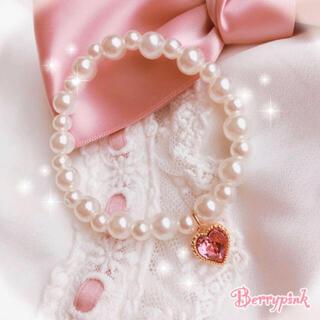Berrypink♡量産型スワロフスキーハートとパールのブレスレット♡(ブレスレット/バングル)