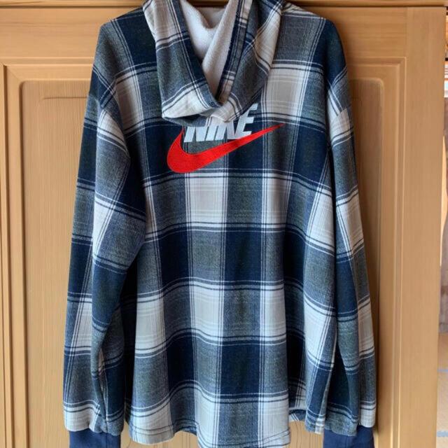 Supreme(シュプリーム)のsupreme nike plaid hooded sweatshirt 紺 L メンズのトップス(シャツ)の商品写真