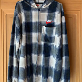 Supreme - supreme nike plaid hooded sweatshirt 紺 L