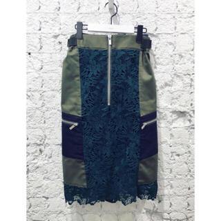 ヌメロヴェントゥーノ(N°21)の最終価格🍋sacai🍋美品 定価10万 ミディ丈デザインレーススカート(ひざ丈スカート)
