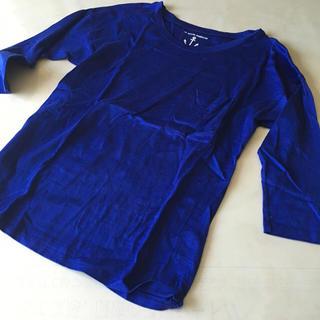マリンフランセーズ(LA MARINE FRANCAISE)のブルー 五分袖カットソー美品(カットソー(長袖/七分))