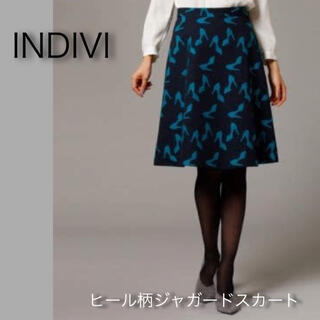 インディヴィ(INDIVI)のインディヴィ ヒール柄ジャガード膝丈スカート(ひざ丈スカート)