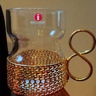 イッタラ(iittala)のイッタラ ツァイッカ クリア ゴールドメタルホルダー(グラス/カップ)