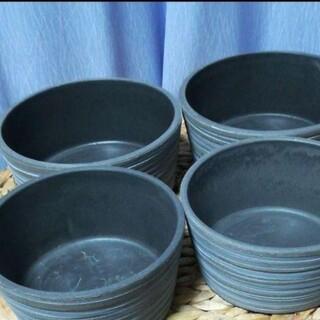 新品 肉厚プラ植木鉢(4号+5号)4個 ライン模様平鉢ボウル型(プランター)