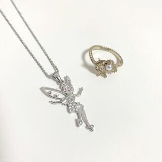 美品 ディズニー ティンカーベル ネックレス 指輪 リング(キャラクターグッズ)
