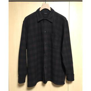 コモリ(COMOLI)のcomoli 20aw ウールチェックオープンカラーシャツ BROWN サイズ2(シャツ)