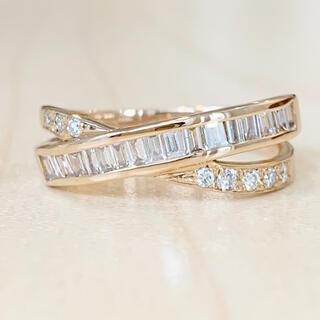 ✨2種のカット✨ダイヤモンド❣️ダイヤ K18 ピンクゴールド リング 指輪