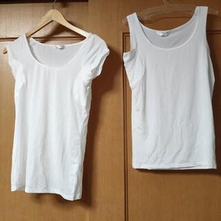 タンクトップ+半袖シャツ