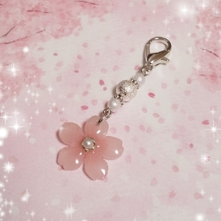 【CR-8】桜のコットンパール風マスクチャーム シルバー系