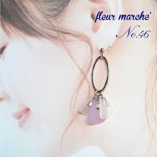 SWAROVSKI - No.46 シルバーオーバルリング×花びら ピアス/イヤリング