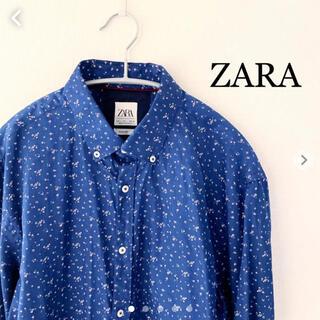 ザラ(ZARA)のZARA ザラ 花柄 長袖シャツ ブルー Lサイズ(シャツ)