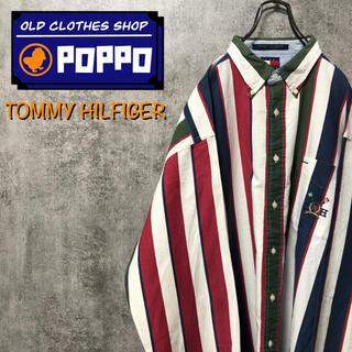 TOMMY HILFIGER - トミーヒルフィガー☆オールドポケット刺繍ロゴカラーマルチストライプシャツ 90s