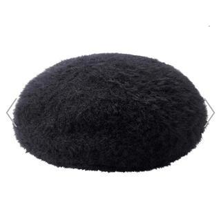 ジーユー(GU)の新品 タッグ付きベレー帽 ヘアリーベレーハットレディース小物 帽子 黒 ブラック(ハンチング/ベレー帽)