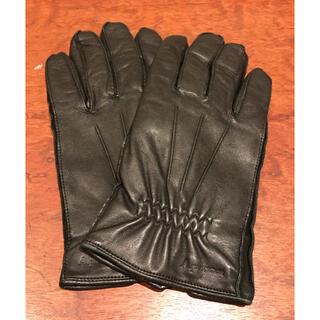 アクアスキュータム(AQUA SCUTUM)のAquascutum アクアスキュータム レザー 黒 手袋 メンズ 美品(手袋)