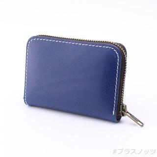 本革 ミニ財布 ブルー(ラウンドファスナー・コンパクト)(コインケース/小銭入れ)