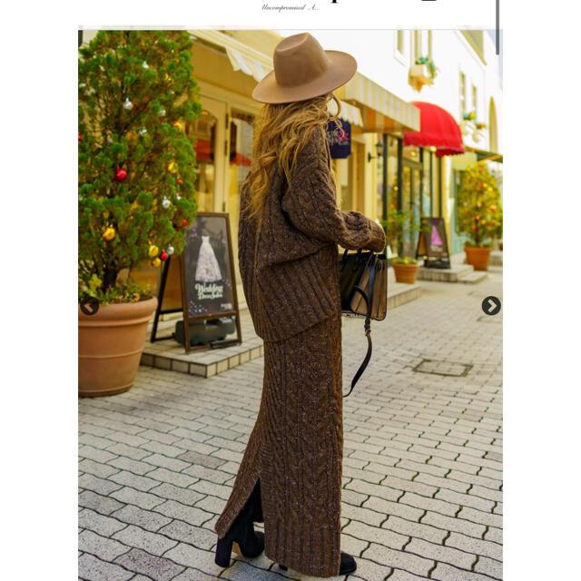 eimy istoire(エイミーイストワール)のロールアップヘムライントップス スリットスカートセットアップ ケーブル レディースのワンピース(ロングワンピース/マキシワンピース)の商品写真