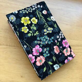 再販 ブックカバー 花柄 黒④ 文庫本サイズ(ブックカバー)