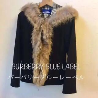 バーバリーブルーレーベル(BURBERRY BLUE LABEL)のバーバリーブルーレーベル*コート ノバチェック ファー 黒 (ダッフルコート)