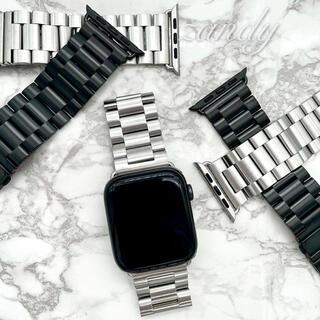 シルバー☆アップルウォッチバンド ステンレス 金属ベルト Apple Watch(金属ベルト)
