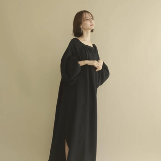 louren balloon sleeve volume dress /navy