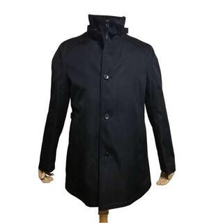 最高級 メンズ ライナー付 コート ステンカラーコート ビジネス AB5 黒(ステンカラーコート)