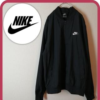 NIKE - 古着 ナイキ ナイロンジャケット 刺繡ロゴ XL ブラック お洒落 ゆるだぼ