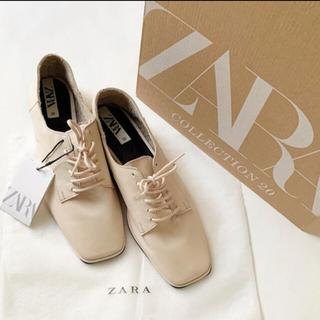 ザラ(ZARA)の新品 ZARA スクエアトゥフラットリアルレザーシューズ(バレエシューズ)