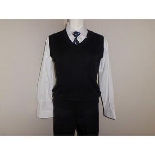 160男子卒業式スーツ風ネクタイ★黒ベスト★白Yシャツ★スクールシャツ通学用制服(ドレス/フォーマル)