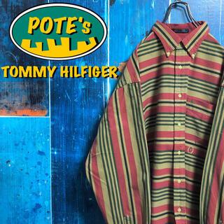 TOMMY HILFIGER - 【トミーヒルフィガー】オールド刺繍ロゴレトロマルチボーダーシャツ 90s